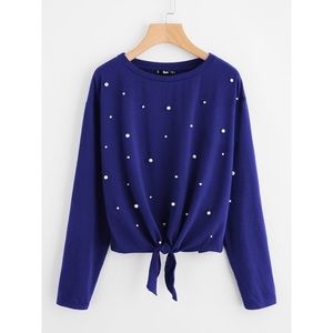 Tops - Blue pearl embellished long sleeve top